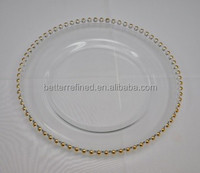 New Glass Beaded Charger Plate Gold for reception tables