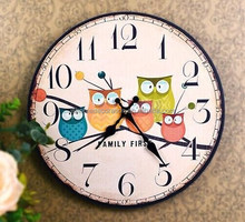 2015 new design hot sales fashion high quality wholesale owl wood wall clock for home decoration