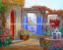 Handmade canvas flower scenery garden oil painting