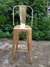 hot sale French style golden bar chair bar stool with back rest and foot rest for sale