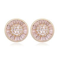 Fancy Earrings for Party Girls Design Saudi Gold Jewelry Pressed Micro Paved Earrings