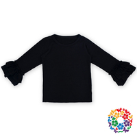 Girls Latest Designs Tops Fancy Cotton 2 Layers Ruffle Tops Long Sleeve Top For Sale