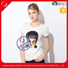 2015 China supplier custom 100% polyester women white tshirt with printing