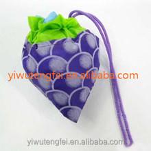 Grape fruit printed foldable drawstring polyester shopping tote bags