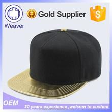 Wholesale 5 Panel Cap Customized Blank Sticker custom Snapback Hats with Leather Brim