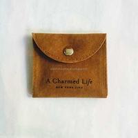 Custom Printed drawstring luxurious snap suede/velvet bag with flap