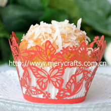 New arrival! wholesale price red wedding cake decorating stand personalized laser cut butterfly cupcake wrappers