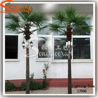 Outdoor solar lighted palm trees direct decorative led coconut palm tree light high artificial solar tree