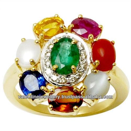 all birthstone navratna gold jewelry ring design