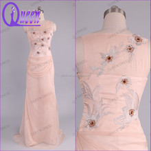 Real Sample Picture Ladies Dress Cap Sleeve Suzhou Bead Embroidered Chiffon Evening Dress 2014