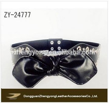 2015 fashionable ladies wide belt, OEM ladies black leather wide belts