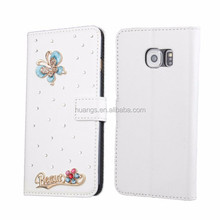 New Products Luxury Diamond Bing DIY Pu Leather Flip Wallet Case For Samsung Galaxy S6 Edge G9250 G925F