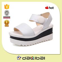 First layer genuine leather upper PU sole girls high heel platform sandals