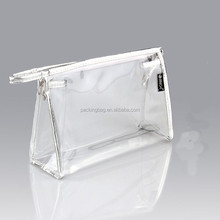 Eco-friendly sewing custom printed transparent PVC cosmetic bag