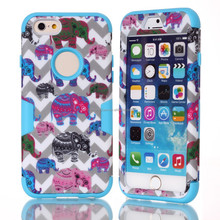 Gray Waves+Colorful Cartoon Elephants Hybrid rubber phone case for iphone 6