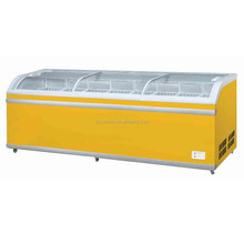 new design Glass Doors Chest Freezer with CE for ice cream curved glass door chest freezer