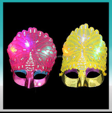 Factory direct-sale high-class peacock dance party mask with lights