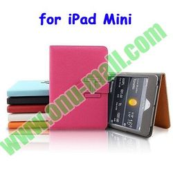 Hot Selling Litchi Lines Belt Clip Leather Case for iPad Mini