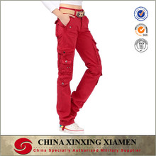 solid red color pure cotton women cargo pants with side pockets
