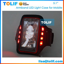 "Led light Fashion mobile phone holder pounch neoprene sports armband case for apple iphone 5s 6 case 5.1"""