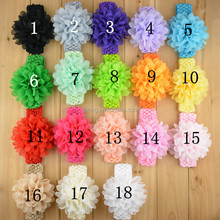 18 Colors Stock Chiffon Flower Hair Bow Top Baby Headband For Baby Girl wholesale organza flowers
