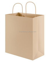 high quality brown kraft paper shopping bags twist handle/cotton string