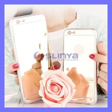 Gold Shell Hard Mirror Plating Acrylic Mobile Phone Case for iPhone 6 Plus S6 Edge
