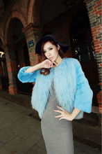 Lady's Fashion Rabbit Fur And Mongolian Fur Coat/Wholesale And Retail