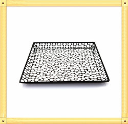 10 Inch Handmad Silvery Color Wedding and Home Centerpieces with Shell Decoration Tempered Crackle Glass Mirror Mosaic Plate