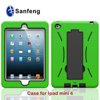 New Products Outter SIlicone+Inner Abs Hybrid Double Layer Cover For mini Ipad 4 stand cases
