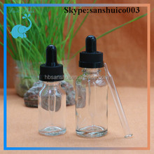 Top Quality clear 1 oz glass e liquid eye dropper bottle with child proof for e-liquid