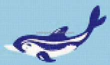 1''*1'' dolphin iridenscent tile swimming pool glass mosiac mural for glass mosaic picture Spa Bathroom