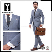 2016 high quality new fashion 100% wool Best selling grey plaid suits china online shopping