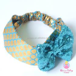 Hot Sale Colorful Cotton Fabric Big Bow Headband Baby Knitted Turban Headband