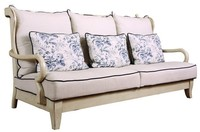 SF3001 - French town style solid wood frame fabric overstock sofa