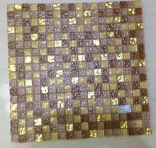Foshan Factory Building Material House Design Golden Mosaic Tile Usage Interior Design