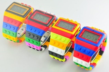 2014 hot sales high quality rainbow digital watch for legos