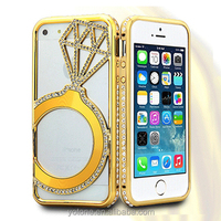 2015 cheap pc plus meatl diamond shinny hard back phone case cover for iphone 5 5s