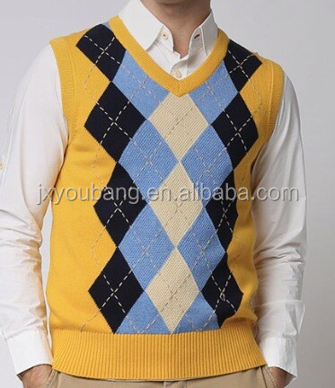 Knitting Pattern Mens Sleeveless Vest : Men Knitting Sleeveless Geometric Pattern Men Sweaters Vest - Buy Men Geometr...