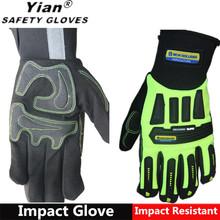 YIAN New High-Vis ORIGINAL Impact Protection Gloves - Green Hi Vis Palm