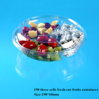 disposable clear Plastic PET Blister salad bowl with lid