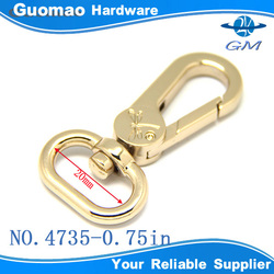 "3/4"" light gold nickel free swivel clasp for bags"