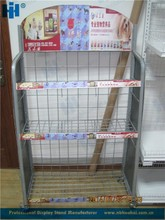 3-tier removable metal wire shelf rack for pet stores, wire display shelf stand