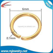 RS-5003 Factory outlet jewelry finding, 0.7*6mm Gold Plated Alloy Closed Jump Rings Charm Connector