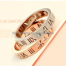 Han edition 18 k rose gold silver Roman numerals couples diamond ring men's and women's tail ring ring