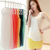 Summer Hot Sale Fashion Blouses Simple Design Casual Loose Candy Color Sleeveless Chiffon Tank Top Women