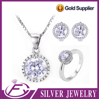 Fine workmanship wedding style 925 sterling silver bridal jewelry set