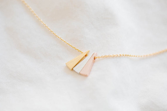 2014-Fashion-18k-Gold-3-color-triangle-necklace-bridesmaid-gift-Free-Shipping