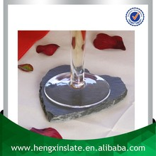 Factory Direct Price Wholesale Handmade Heart Shape Natural Edge 10*10*0.5cm Black Slate Coaster Stone Cup Mat