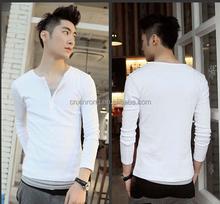 2015 cheap price cotton plain white polo t-shirt for men/men's solid polo/V neck button long sleeve shirts
